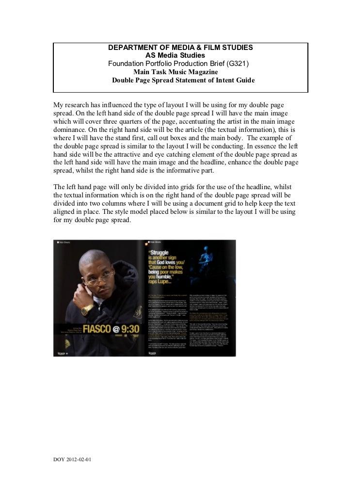 DEPARTMENT OF MEDIA & FILM STUDIES                              AS Media Studies                   Foundation Portfolio Pr...