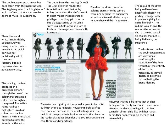This double page spread image has        The quote from the heading 'One Ofbeen taken from the magazine vibe.       The Be...