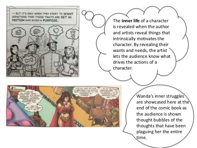 The inner life of a character is revealed when the author and artists reveal things that intrinsically motivates the chara...
