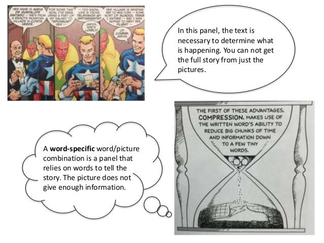 A word-specific word/picture combination is a panel that relies on words to tell the story. The picture does not give enou...