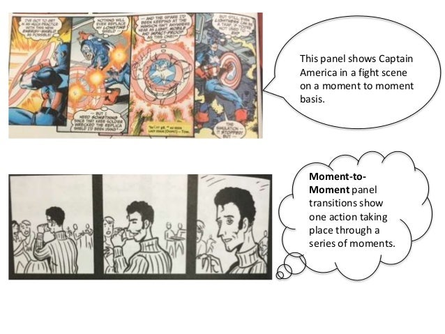 Moment-to- Moment panel transitions show one action taking place through a series of moments. This panel shows Captain Ame...