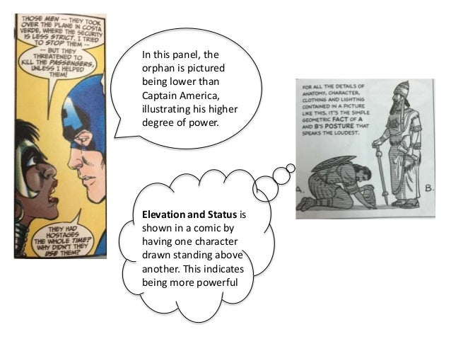 Elevation and Status is shown in a comic by having one character drawn standing above another. This indicates being more p...