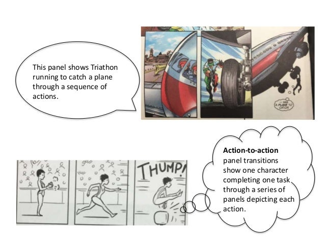 This panel shows Triathon running to catch a plane through a sequence of actions. Action-to-action panel transitions show ...