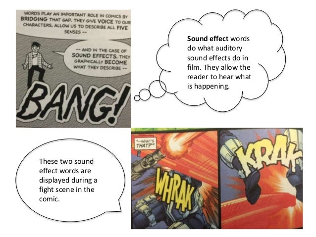 Sound effect words do what auditory sound effects do in film. They allow the reader to hear what is happening. These two s...