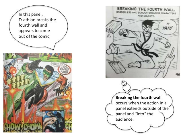 """Breaking the fourth wall occurs when the action in a panel extends outside of the panel and """"into"""" the audience. In this p..."""