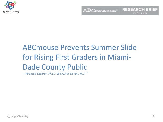 1 ABCmouse Prevents Summer Slide for Rising First Graders in Miami- Dade County Public —Rebecca Shearer, Ph.D.† & Krystal ...