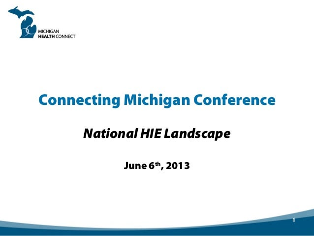 Connecting Michigan Conference National HIE Landscape June 6th , 2013 1