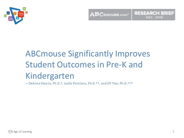 1 ABCmouse Significantly Improves Student Outcomes in Pre-K and Kindergarten —DeAnna Owens, Ph.D.†, Leslie Ponciano, Ph.D....