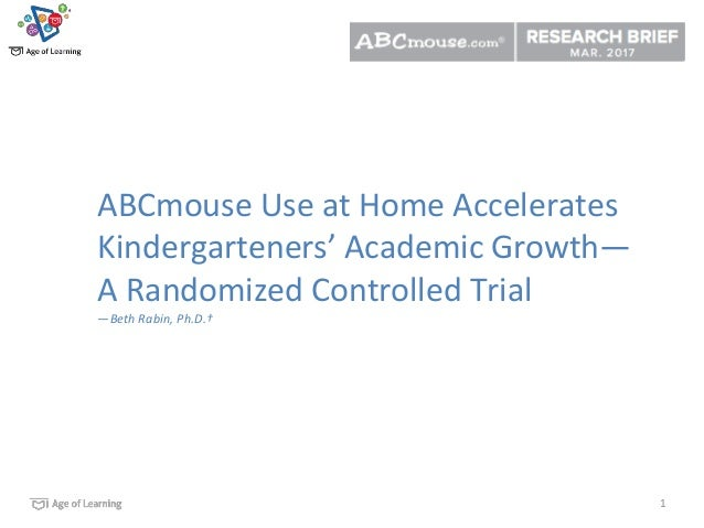 1 ABCmouse Use at Home Accelerates Kindergarteners' Academic Growth— A Randomized Controlled Trial —Beth Rabin, Ph.D.†