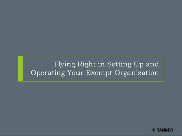 Flying Right in Setting Up and Operating Your Exempt Organization