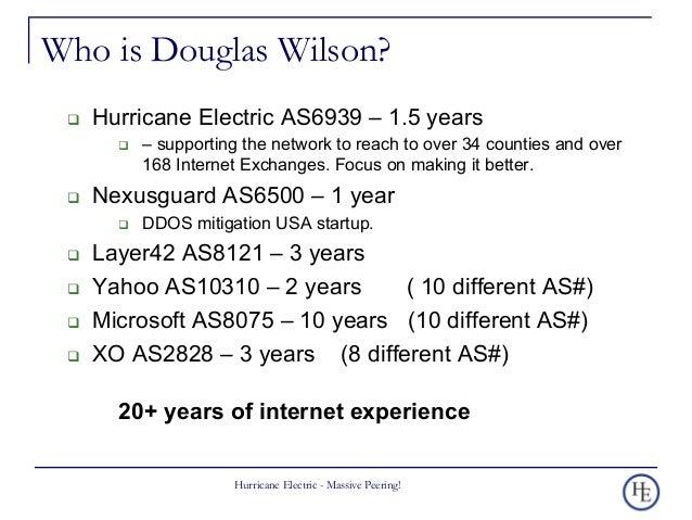 Peering Talk 101 by Douglas Wilson Slide 2
