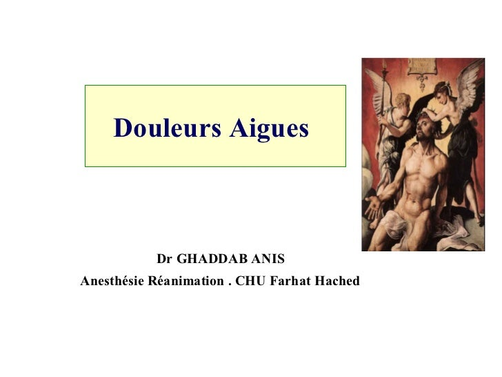 Douleurs Aigues   Dr GHADDAB ANIS  Anesthésie Réanimation . CHU Farhat Hached