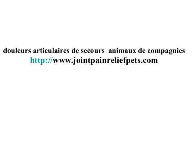 douleurs articulaires de secours animaux de compagnies http://www.jointpainreliefpets.com