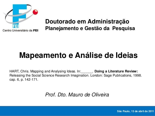 Mapeamento e Análise de Ideias HART, Chris. Mapping and Analysing Ideas. In:______. Doing a Literature Review: Releasing t...
