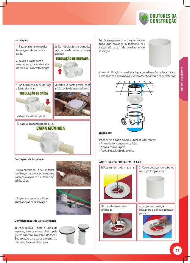 27 b) Prolongamento – segmento de tubo que prolonga o tamanho das caixas sifonadas, de gordura e de inspeção. c) Anti-infi...