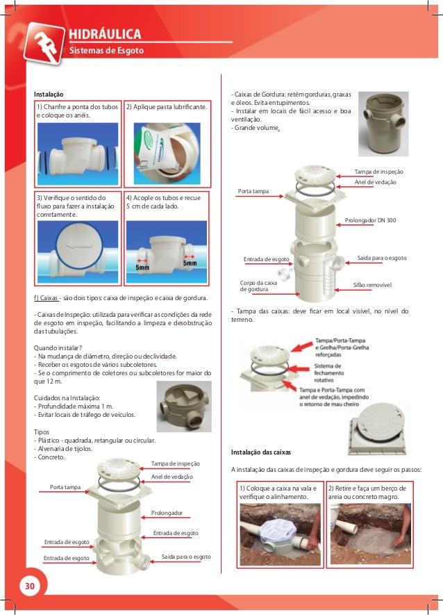30 Sistemas de Esgoto Instalação 1) Chanfre a ponta dos tubos e coloque os anéis. 3) Verifique o sentido do fluxo para faz...