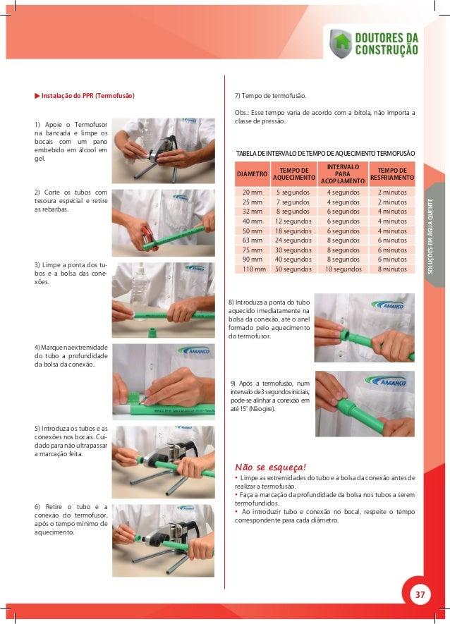 37 DIÂMETRO TEMPO DE AQUECIMENTO INTERVALO PARA ACOPLAMENTO TEMPO DE RESFRIAMENTO Instalação do PPR (Termofusão) 1) Apoie ...