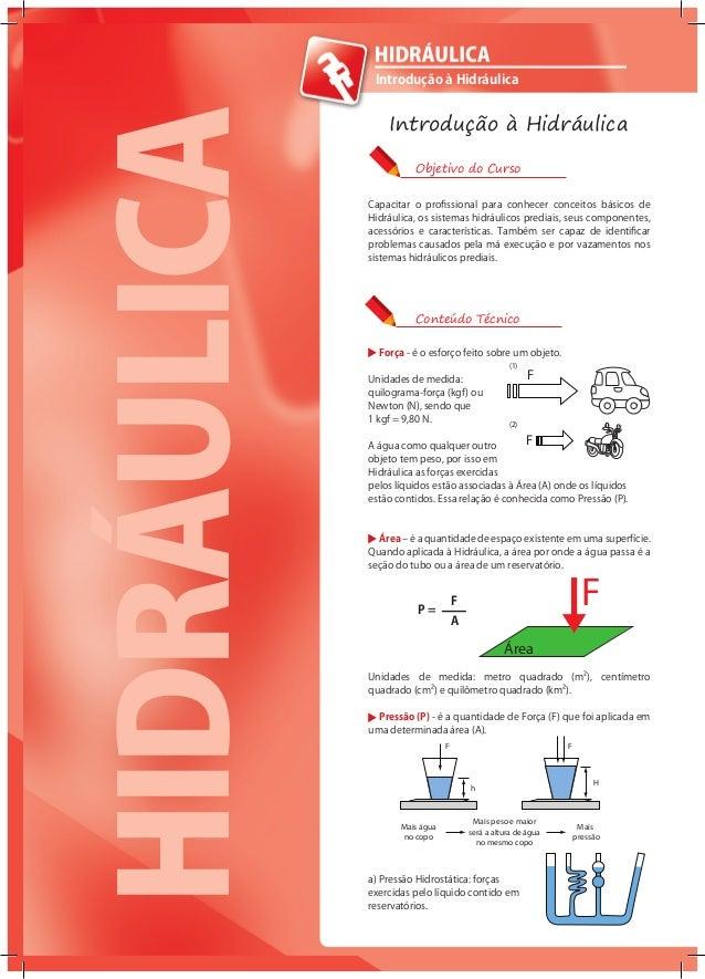 4 Capacitar o profissional para conhecer conceitos básicos de Hidráulica, os sistemas hidráulicos prediais, seus component...
