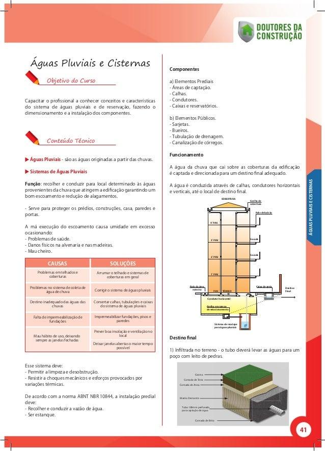 41 Capacitar o profissional a conhecer conceitos e características do sistema de águas pluviais e de reservação, fazendo o...