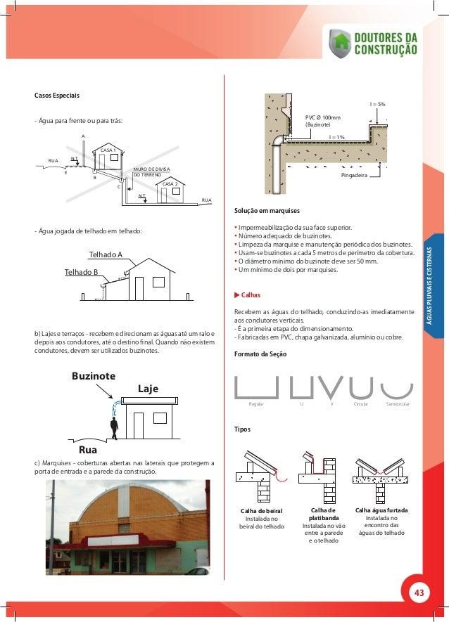 43 Casos Especiais - Água para frente ou para trás: - Água jogada de telhado em telhado:  b) Lajes e terraços - recebem e...