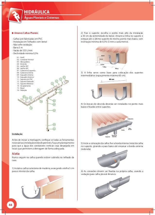 44 Águas Pluviais e Cisternas Amanco Calhas Pluviais - Calhas pré-fabricadas em PVC - Instalação em Telhados com beiral - ...