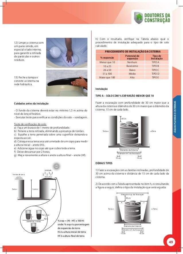 49 12) Limpe a cisterna com um pano úmido, em especial o lado interno, para garantir a retirada de partículas e outros res...