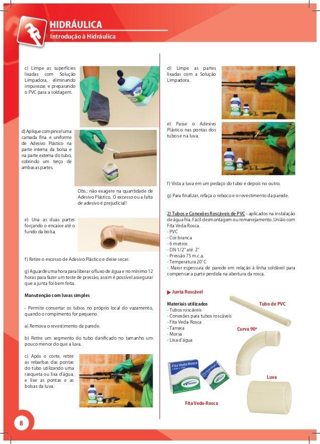 8 Introdução à Hidráulica c) Limpe as superfícies lixadas com Solução Limpadora, eliminando impurezas e preparando o PVC p...