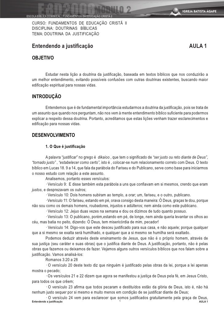 ESCOLA BÍBLICA DOMINICAL | FUNDAMENTOS DA EDUCAÇÃO CRISTÃ 2     CURSO: FUNDAMENTOS DE EDUCAÇÃO CRISTÃ II    DISCIPLINA: DO...
