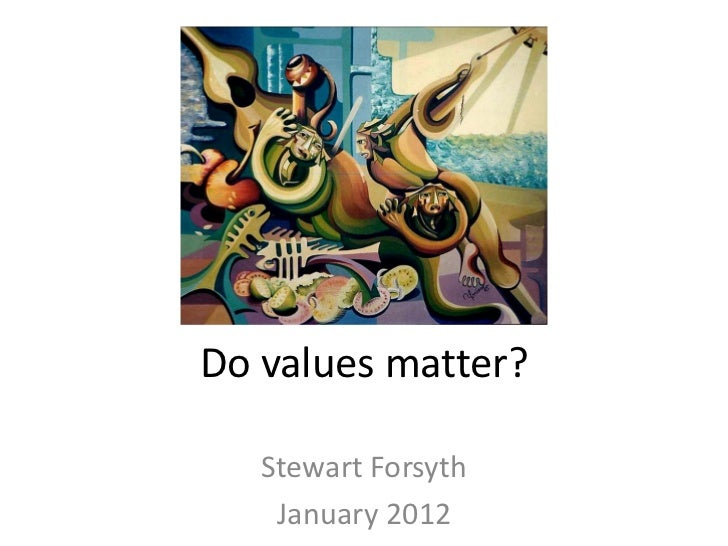 Do values matter?   Stewart Forsyth    January 2012