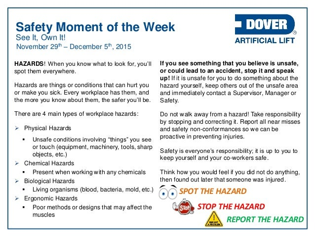 Dover Als Safety Moment Of The Week 29 Nov 15