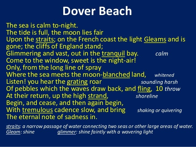 the setting development in dover beach by matthew arnold An analysis of imagery in dover beach by matthew arnold pages 2 words 1,135 view full essay more essays like this: dover beach, matthew arnold.