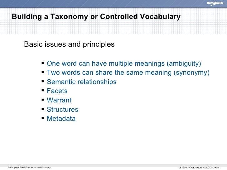 Building a Taxonomy or Controlled Vocabulary <ul><ul><ul><li>Basic issues and principles </li></ul></ul></ul><ul><ul><ul><...