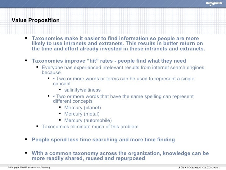 Value Proposition <ul><ul><li>Taxonomies make it easier to find information so people are more likely to use intranets and...