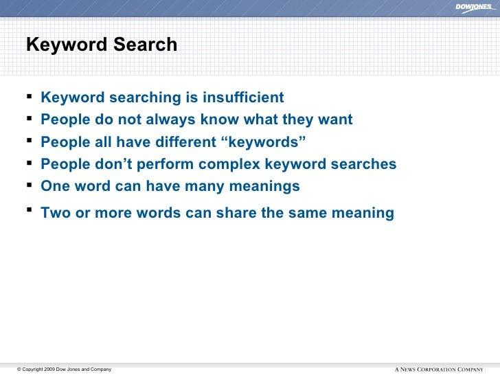 Keyword Search <ul><li>Keyword searching is insufficient </li></ul><ul><li>People do not always know what they want </li><...