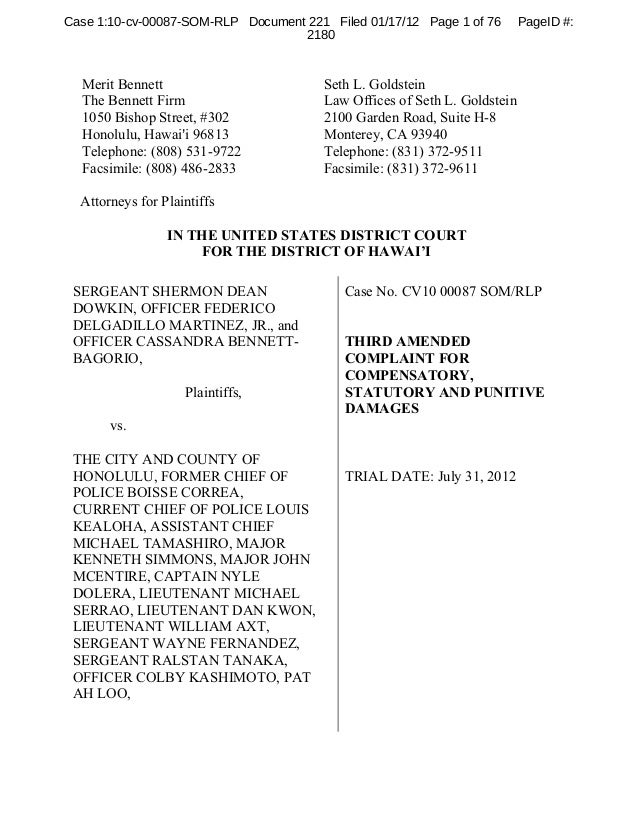Case 1:10-cv-00087-SOM-RLP Document 221 Filed 01/17/12 Page 1 of 76       PageID #:                                   2180...
