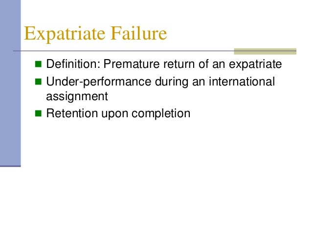 expatriate failure definition