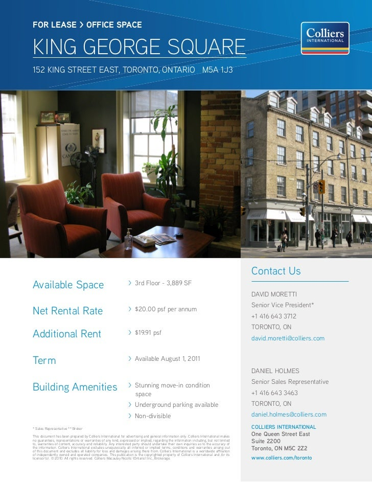 FOR lease > OFFICe sPaCeKING GEORGE SQUARE152 KINg STReeT eAST, TORONTO, ONTARIO M5A 1J3                                  ...