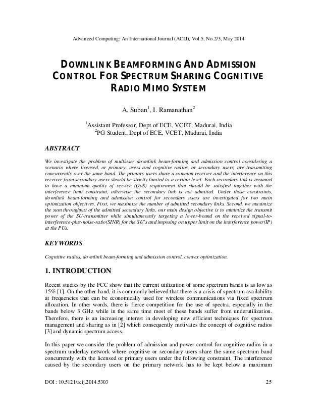 Advanced Computing: An International Journal (ACIJ), Vol.5, No.2/3, May 2014 DOI : 10.5121/acij.2014.5303 25 DOWNLINK BEAM...