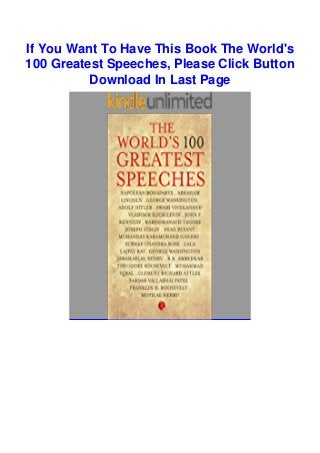 Download In Pdf The World S 100 Greatest Speeches Epub