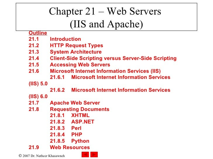Chapter 21 – Web Servers  (IIS and Apache) Outline 21.1  Introduction 21.2  HTTP Request Types 21.3  System Architecture 2...