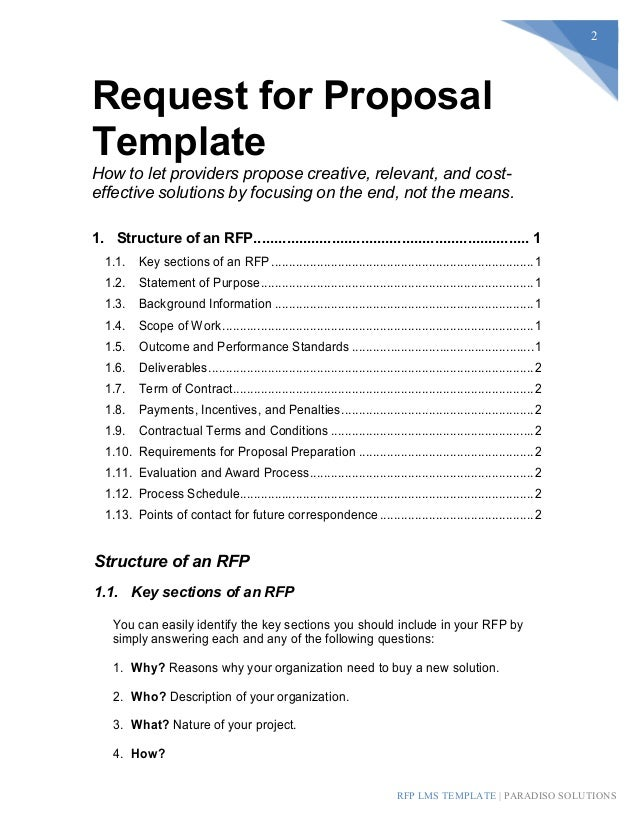 Lms Rfp Template  Sample