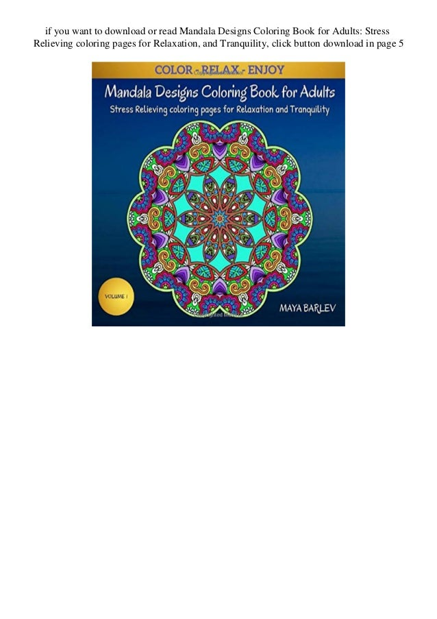 Download Mandala Designs Coloring Book For Adults Stress Relieving Co