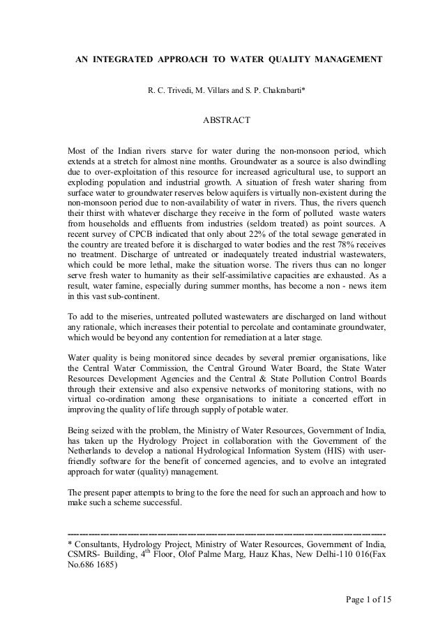 Page 1 of 15 AN INTEGRATED APPROACH TO WATER QUALITY MANAGEMENT R. C. Trivedi, M. Villars and S. P. Chakrabarti* ABSTRACT ...