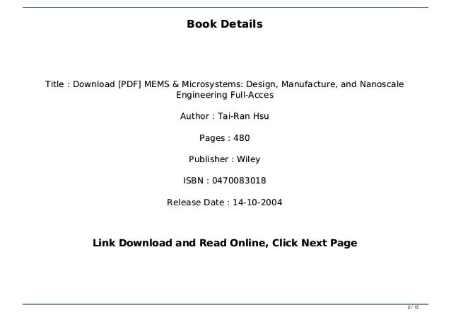 Download Pdf Mems Microsystems Design Manufacture And Nanoscal