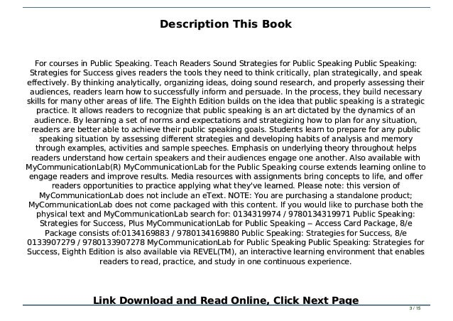 Public speaking for success pdf free download free