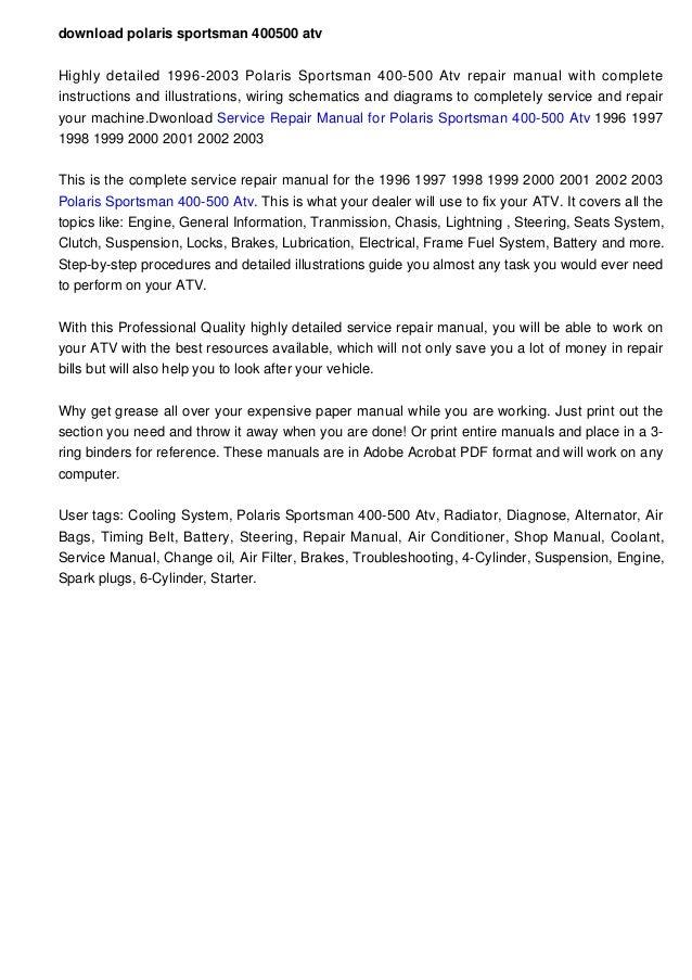 Download Polaris Sportsman 400500 Atv 19962003 Factory Repair Manualrhslideshare: 2005 Polaris Sportsman 400 Wiring Diagram At Gmaili.net