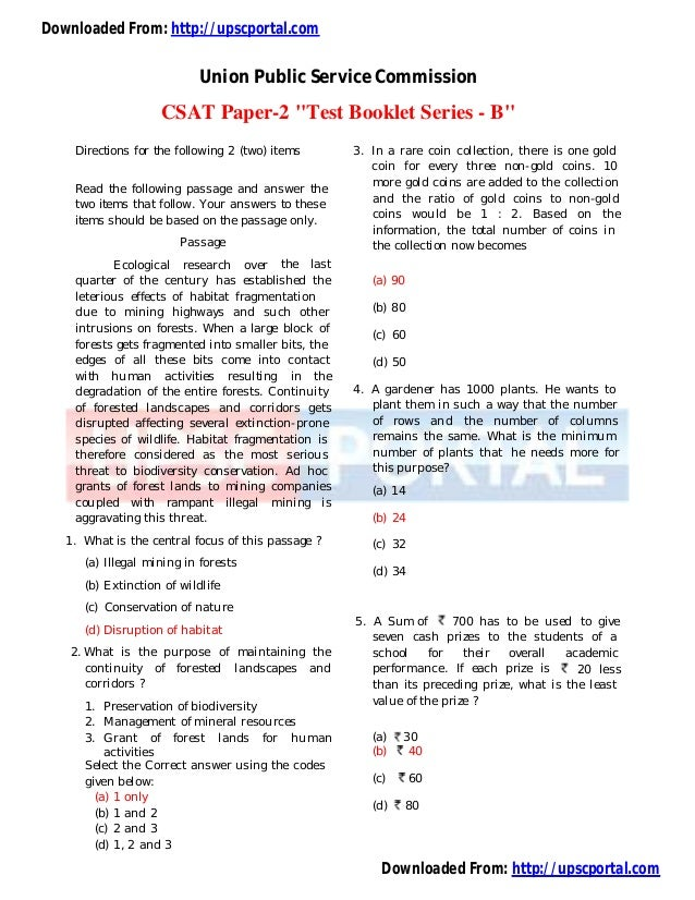 "Downloaded From: http://upscportal.comUnion Public Service CommissionCSAT Paper-2 ""Test Booklet Series - B""Directions for ..."