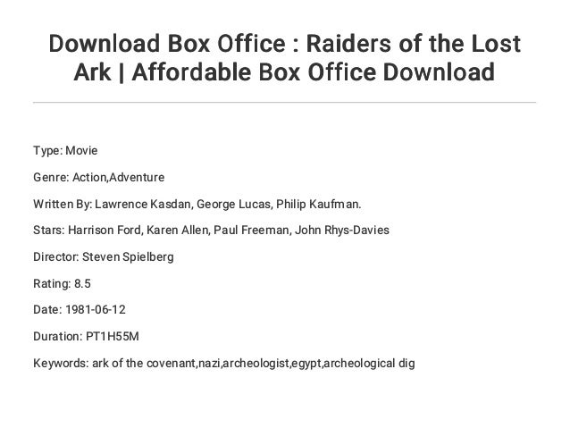 Download Box Office : Raiders of the Lost Ark | Affordable