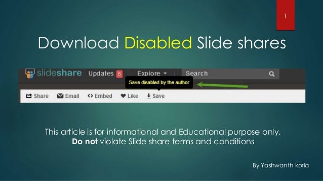 Download Disabled Slide shares By Yashwanth korla This article is for informational and Educational purpose only. Do not v...