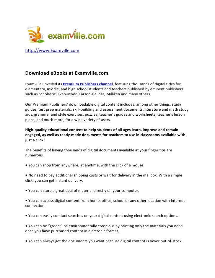 http://www.Examville.com    Download eBooks at Examville.com Examville unveiled its Premium Publishers channel, featuring ...